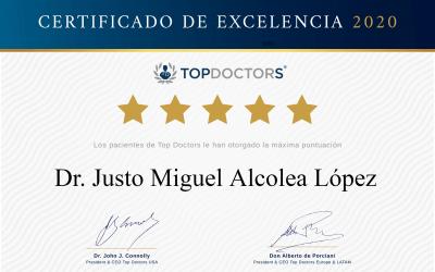 El portal médicoTop Doctors distingue al Dr. Alcolea con su certificado de excelencia